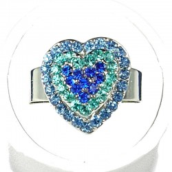 Blue Diamante Layer Heart Ring