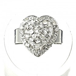 Clear Diamante Layer Heart Ring