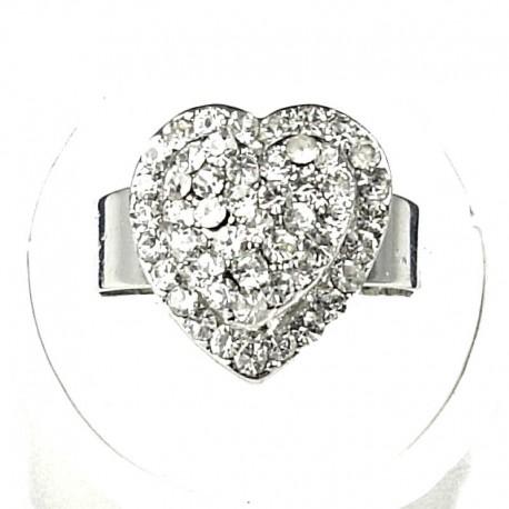Love Fashion Costume Jewellery Dress Rings, Women Girls Gift, Clear Diamante Layer Heart Ring