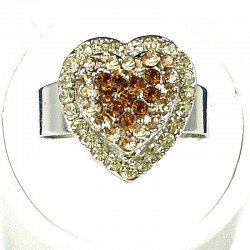 Brown Diamante Layer Heart Ring