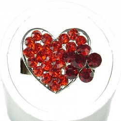 Red Diamante Daisy Flower Heart Ring