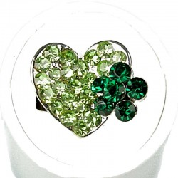Green Diamante Daisy Flower Heart Ring