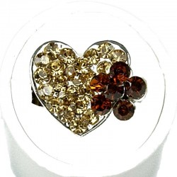 Brown Diamante Daisy Flower Heart Ring