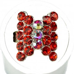 Red Diamante Fashion Bow Ring