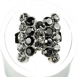 Black Stripe Grey Diamante Fashion Bow Ring