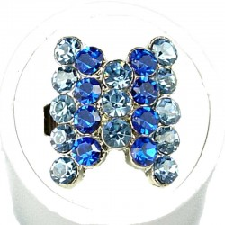 Royal Blue Stripe Blue Diamante Fashion Bow Ring