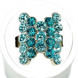 Cute Fun Love Costume Jewellery Rings, Women Girls Gift, Aqua Blue Diamante Fashion Bow Ring