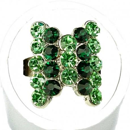 Cute Fun Love Costume Jewellery Rings, Women Girls Gift, Green Stripe Lime Diamante Fashion Bow Ring