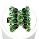 Green Stripe Lime Diamante Fashion Bow Ring
