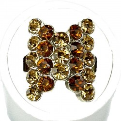 Brown Stripe Gold Diamante Fashion Bow Ring