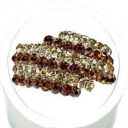 Brown Strip Gold Diamante Crossover Pave Dress Ring