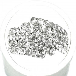 Clear Diamante Crossover Pave Dress Ring