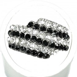 Monochrome Diamante Crossover Pave Dress Ring