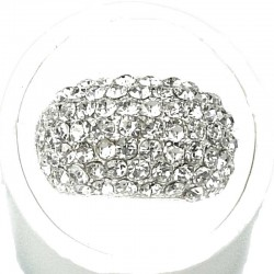 Clear Diamante Round Rectangle Pave Dress Ring