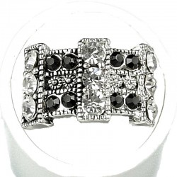 Monochrome Diamante Grid Curved Rectangle Ring