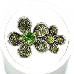 Love Cute Fashion Costume Jewellery Girly Rings, Women Girls Gift, Green Diamante Double Daisy Flower Ring
