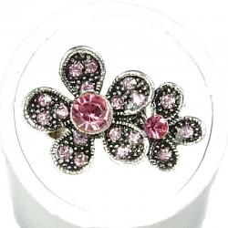 Pink Diamante Double Daisy Flower Ring