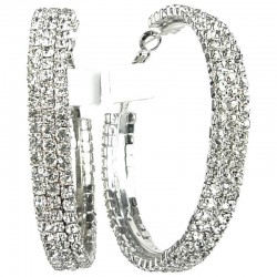 Fashion Bold Statement Costume Jewellery Chunky Earring Hoops, Clear Diamante Large 53mm Hoop Earrings