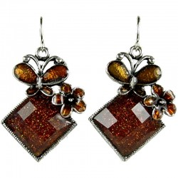 Fashion Women 's Costume Jewellery Gift, Brown Enamel Butterfly Lozenge Drop Earring
