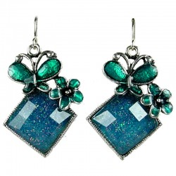 Fashion Costume Jewellery, Aqua Green Enamel Butterfly Lozenge Drop Earrings