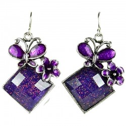 Fashion Women Costume Jewellery, Purple Enamel Butterfly Lozenge Drop Earrings