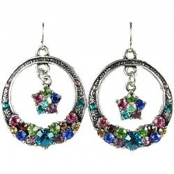 Chic Fashion Women Costume Jewellery Gift, Assorted Multi Colour Diamante Circle Drop Earrings