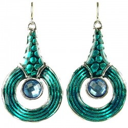 Fashion Women's Gift, Girls Costume Jewellery, Aque Blue Enamel Circle Drop Earrings
