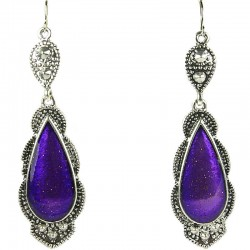 Fashion Costume Jewellery, Purple Enamel Teardrop Statement Long Drop Earrings