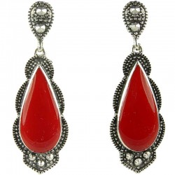 Fashion Statement Costume Jewellery, Red Enamel Teardrop Long Drop Earrings