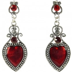 Women's Fashion Costume Jewellery, Love Statement Red Enamel Heart Drop Earrings