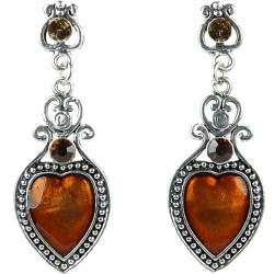 Fashion Women's Costume Jewellery, Love Statement Brown Enamel Heart Drop Earrings