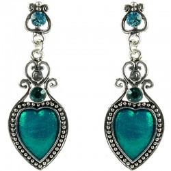 Fashion Women's Costume Jewellery, Love Statement Aqua Enamel Heart Drop Earrings