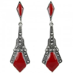 Double Red Enamel Lozenge Drop Earrings