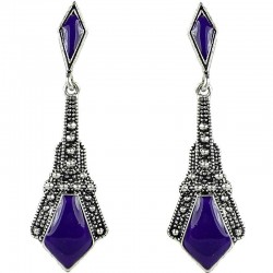 Double Purple Enamel Lozenge Drop Earrings