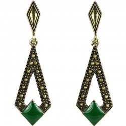 Antique Gold Green Enamel Lozenge Drop Earrings