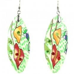 Fashion Women Costume Jewellery, Bold Statement Costume Jewellery, Green Clay Teardrop Long Drop Earrings