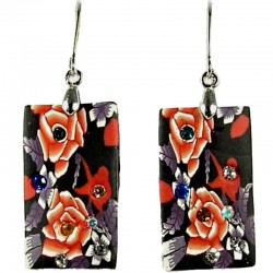 Unique Handcrafted Costume Jewellery, Fashion Women Handmade Gift, Black and Red Floral Clay Rectangle Drop Earrings