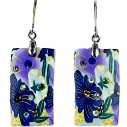 Handcrafted Unique Art Costume Jewellery, Fashion Women Handmade Gift, Purple Floral Clay Rectangle Drop Earrings