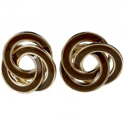 Bold Statement Costume Jewellery, Fashion Women Earring Studs, Brown Enamel Round Swirl Large Stud Earrings
