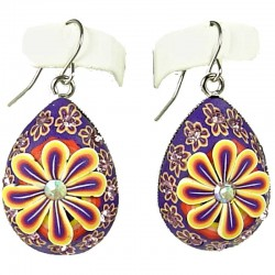 Handcrafted Costume Jewellery, Fashion Women Girls Handmade Gift, Purple Yellow Flower Clay Teardrop Drop Earrings
