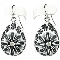 Handcrafted Costume Jewellery, Fashion Women Girls Handmade Gift, Grey Flower Clay Teardrop Drop Earrings