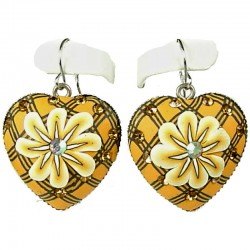 Handcrafted Art Costume Jewellery, Fashion Women Girls Handmade Gift, Yellow Flower Clay Heart Drop Earrings