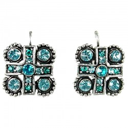 Chic Fashion Trendy Costume Jewellery, Women Girls Gift, Blue Diamante Cross Square Leverback Earrings