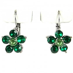 Simple Floral Costume Jewellery, Green Diamante Daisy Leverback Fashion Flower Earrings