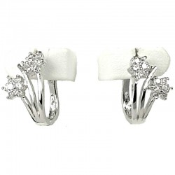 Clear Diamante Daisies Small Hoop Creole Earrings
