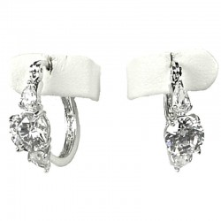 Clear Diamante Classic Small Hoop Creole Earrings