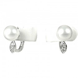 White Pearl Clear Diamante Small Hoop Creole Earrings