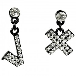 Clear Diamante Tick Cross Fun Drop Asymmetrical Earrings