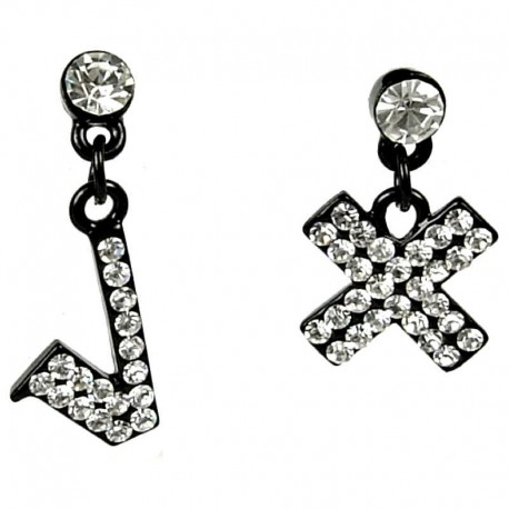 Bling Fashion Costume Jewellery, Fashion Women Girls Gift, Clear Diamante Tick Cross Fun Loving Drop Asymmetrical Earrings