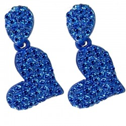 Chic Fashion Dressy Costume Jewellery Wedding Party Dress, Women Gift, Royal Blue Diamante Teardrop Heart Drop Earrings